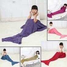140*70cm Kid knitted handmade crochet throw bed Wrap super soft Mermaid Tail blanket sleeping bag for child