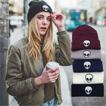 2016 Autumn Winter Knitting Wool Knitted Solid Hats For Women And Men Alien Embroidery Dome Black White Gray skullies beanies