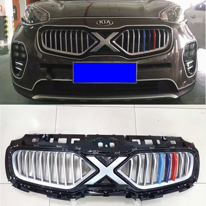 TOP QUALITY FRONT RACING GRILL GRILLE CAR STYLING fit for NEW kia SPORTAGE KX5 2016 2017 FRONT GRILL RACING GRILL with free ship racing grills version aluminum alloy car styling refit grille air intake grid radiator grill for kla k5 2012 14
