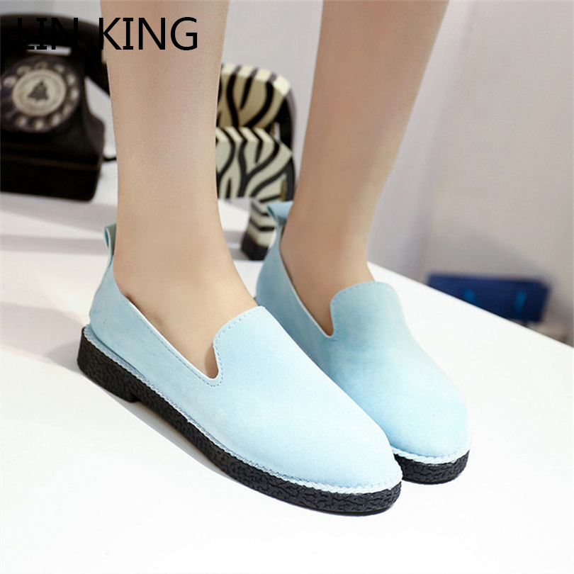 LIN KING Women Loafers Woman Casual Flats Shoes Fashion Solid Suede Leather Shoes Slip On Lazy Low Top Single Ankle Shoes lin king fashion pu leather women flats shoes round toe loafers comfortable slip on casual shoes solid breathable girl lazy shoe