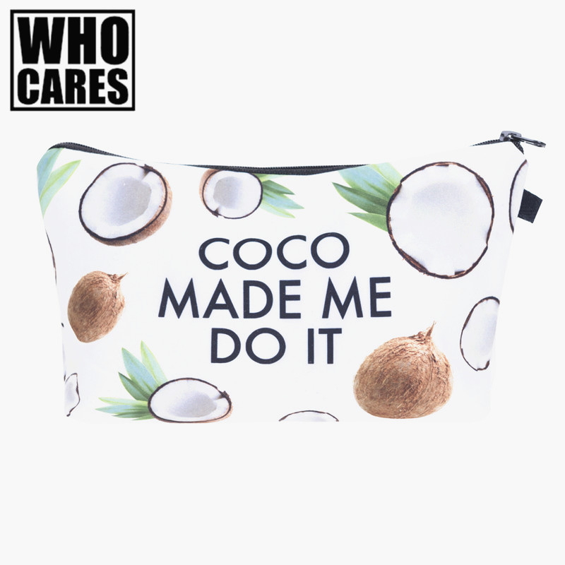 Coconut made me do it 3D Printing women cosmetic bag neceser makeup pouch travel bolsos mujer de marca famosa toiletry organizer