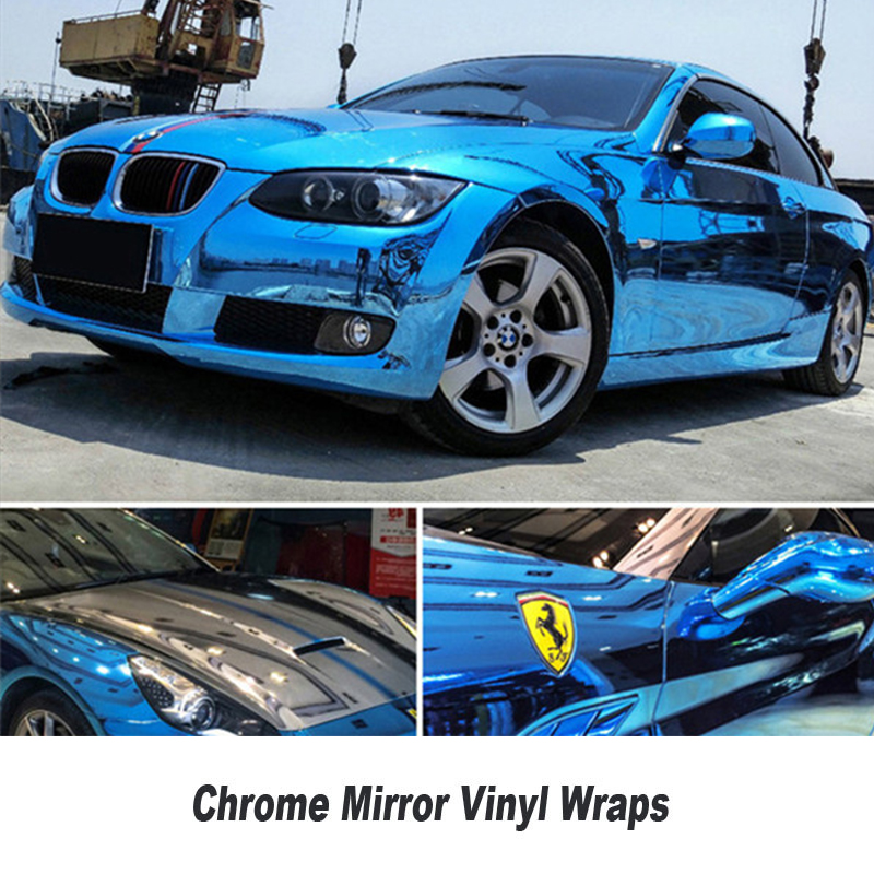 Premium Stretchable Blue Mirror Chrome Vinyl Wrap Car Wrapping Film Chrome Gloss Blue Foil Customized any size 5ft X 65ft/Roll high quality stretchable chrome black vinyl wrap sheet roll for car wrapping air free bubble