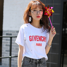 Summer new fashion letter printing short sleeve T shirt college wind loose hole bottoming shirt