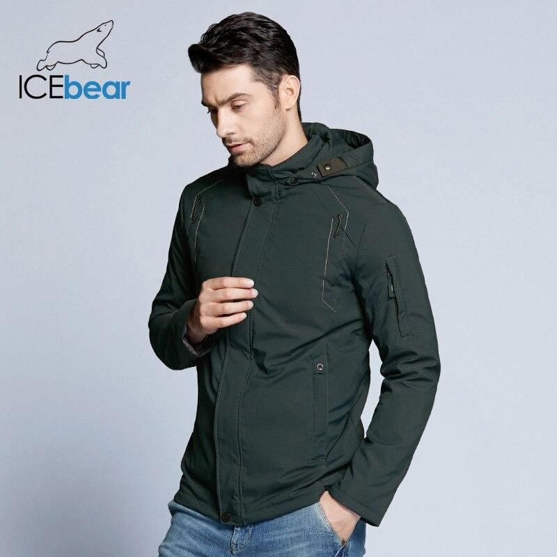 ICEbear 2019 new autumnal men's coats windbreaker warm apparel cotton padded detachable hat brand hooded man jacket MWC18120D