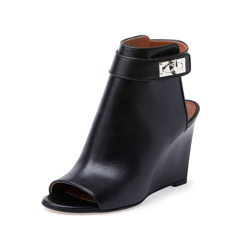 Peep Toe Woman Boots Metal Buckle Design Ankle Boots Wedges Slingback Women Short Booties Leather High Heels Brand Runway Shoes fashion fringe women short chelsea boots black genuine leather thick high heels shoes woman pointed toe metal buckle booties