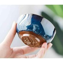 1 Pcs Chinese Ceramic Tea Cup Ice Cracked Glaze Kung Fu Teaset Small Porcelain Bowl Teacup Accessories Drinkware