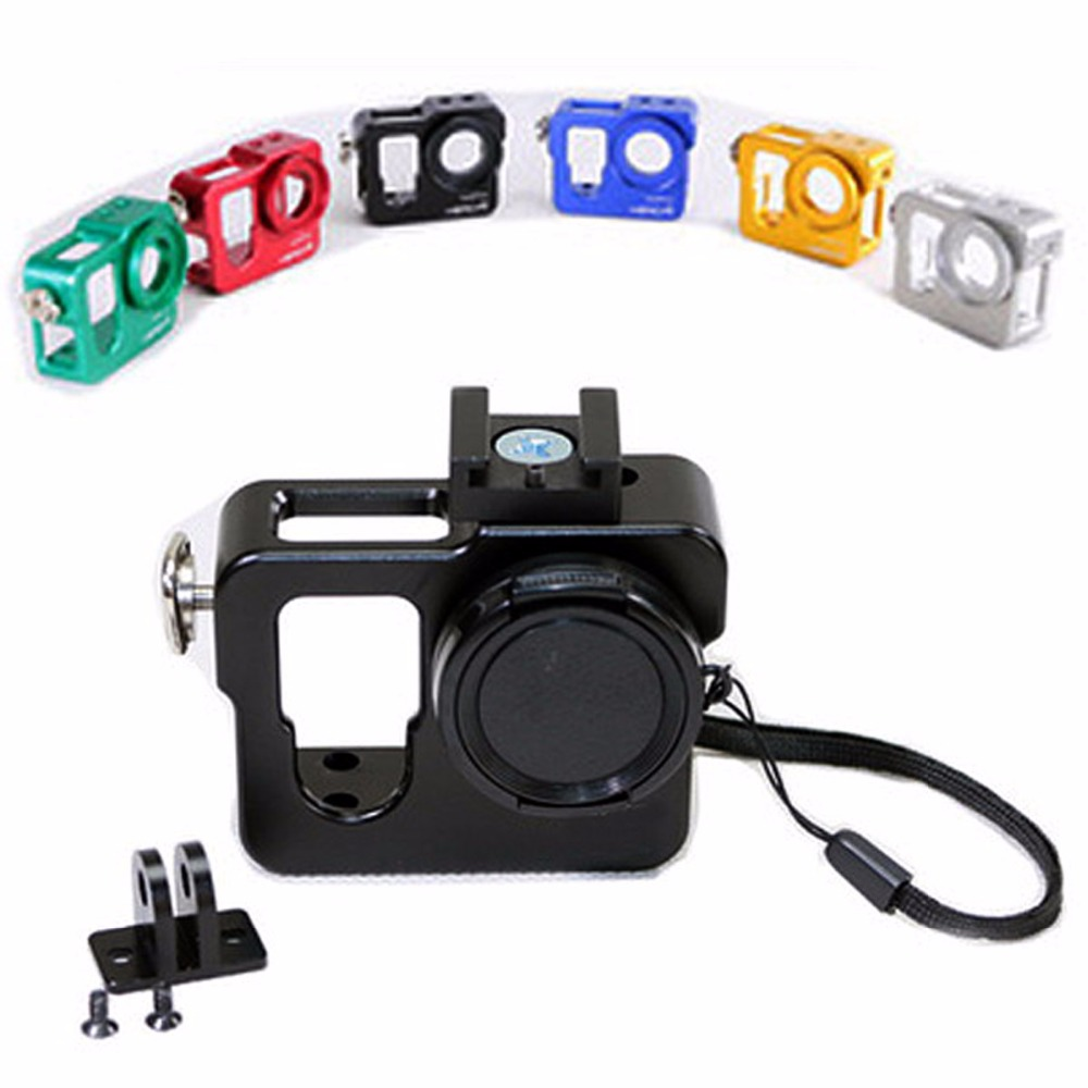 6 Colors Aluminium Protective Housing Case Shell UV Filter Lens Wrist Strap For GoPro 4 font