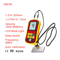 GM100 Digital LCD display Ultrasonic Thickness Gauge Metal Testering Measuring Instruments 1.2 to 220MM Sound Velocity Meter