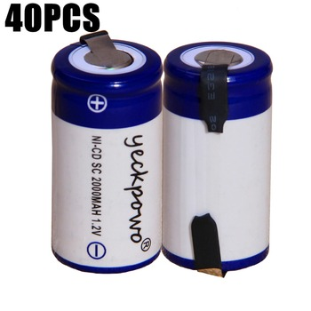 40 pcs SC 2000mah 1.2v battery NICD rechargeable batteries for emergency light toy equipment power for electric screwdriver