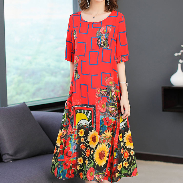 609ee7b77 Summer clothes for women dress plus size large real 100% silk natual dresses  elegant noble retro midi robe print floral red