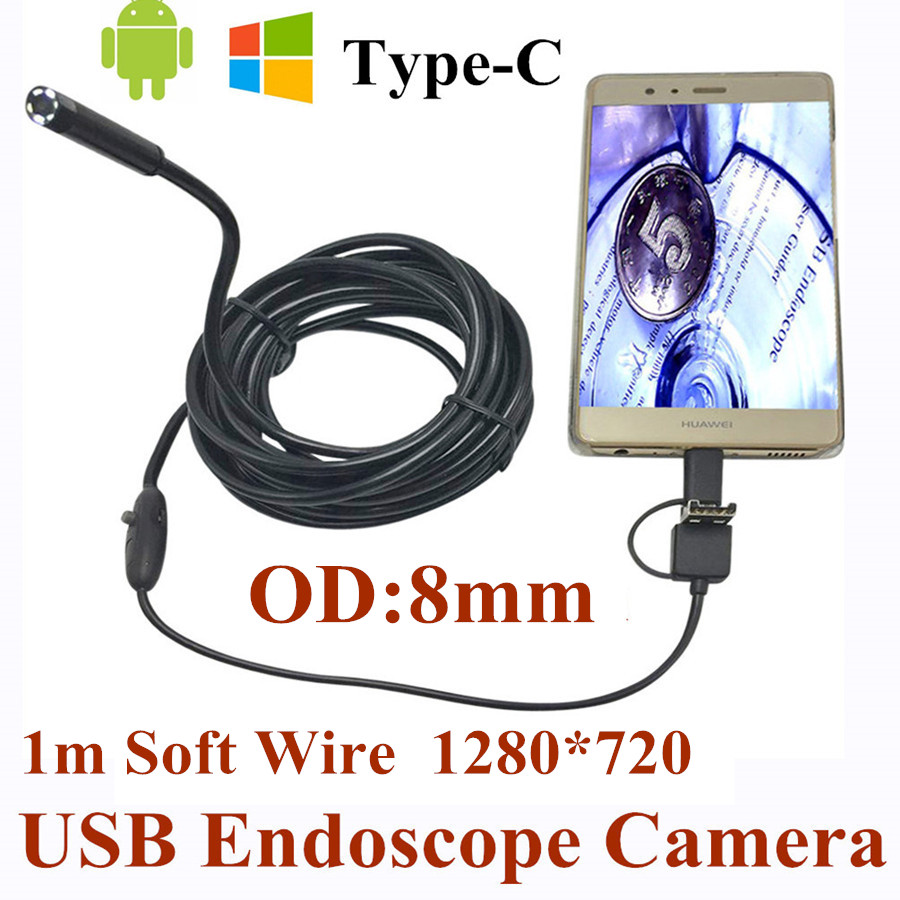 8mm 3 in 1 USB Endoscope Camera 1M Soft Wire IP66 Waterproof Snake Tube Inspection Android OTG Type-C USB Borescope Camera bullet camera tube camera headset holder with varied size in diameter