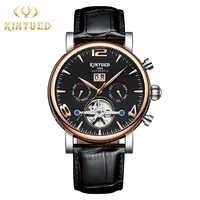 KINYUED Business Tourbillon Watch Automatic Top Brand Luxury Mens Skeleton Watches Mechanical Montre Squelette Homme Automatique