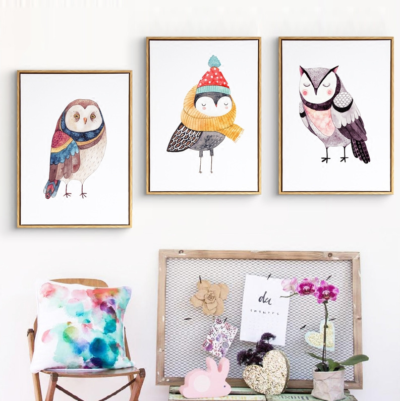 Us 3 39 15 Off Cute Cartoon Animals Oil Paintings Owl Canvas Art Diy Posters Pop Wall Paint Nursery Kids Decor No Frame In