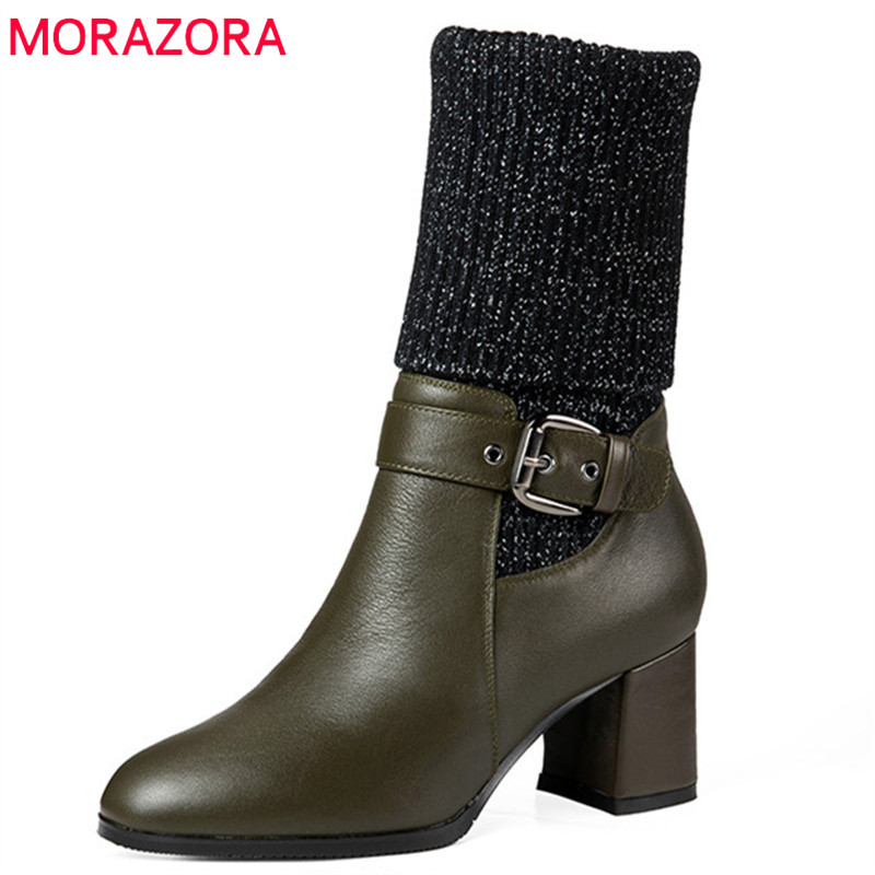MORAZORA 2018 new style ankle boots women simple zipper buckle genuine leather boots round toe high heels dress shoes ladies european style autumn genuine leather fashion ankle boots round toe zipper belt buckle high heels motorcycle boots women boots