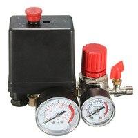 Air Compressor Pressure Valve Switch Manifold Relief Regulator Gauges 7 25 125 PSI 240V 15A Popular
