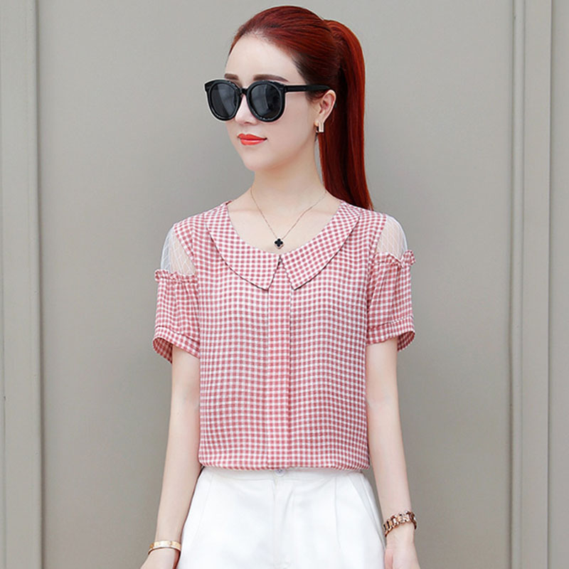 Off Shoulder Women Spring Summer Style Chiffon   Blouses     Shirts   Lady Casual Short Sleeve Peter pan Collar Blusas Tops DF1902