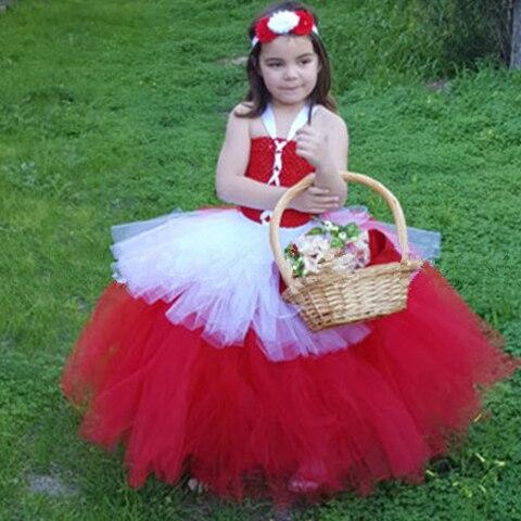 fb6742f4f1acc Beyaz kırmızı tutu tül bebek nedime çiçek kız düğün elbise kabarık balo  doğum günü akşam balo