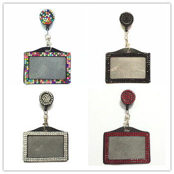 Wholesale 100pcs Horizontal Rhinestone ID Card Badge Holder with Bling Crystal Retractable Reels Office School Supplies