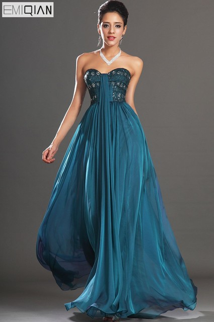 Free Shipping New Gorgeous Strapless Sweetheart Neckline Chiffon Evening  Dress d899c11cff83