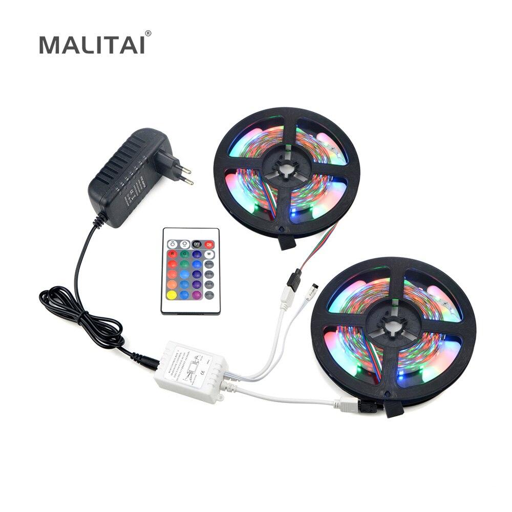 Vollen Satz RGB LED Streifen licht 2835 (3528) 5 Mt 10 Mt Wasserdichte led-beleuchtung Band 300 LEDs Band Mit IR-Controller DC12V 3A Adapter