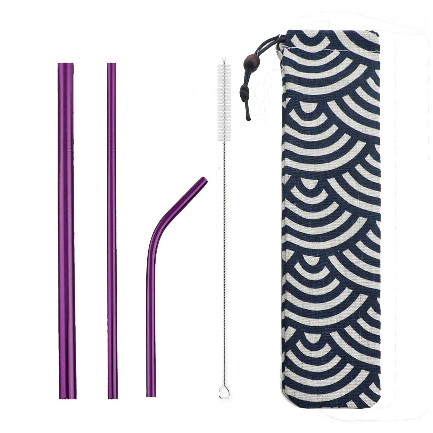 5pcs Reusable 304 Stainless Steel Straw Metal Smoothies