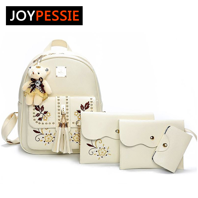 Fashion pu Leather Women Backpacks 4pcs set Rivet school bag for Teenage Girls tassel Mochila Bags Lady Backpack Mochila vintage tassel women backpack nubuck pu leather backpacks for teenage girls female school shoulder bags bagpack mochila escolar