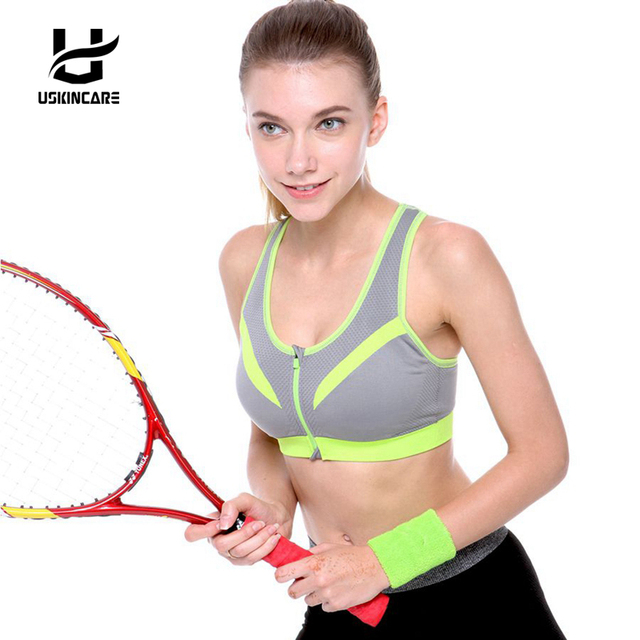03dc7bbe17bbf USKINCARE Brand Women Front Zipper Bras Push Up Shockproof Top Underwear  With Inner Pad Wireless Vest Workout Clothing 6 Color
