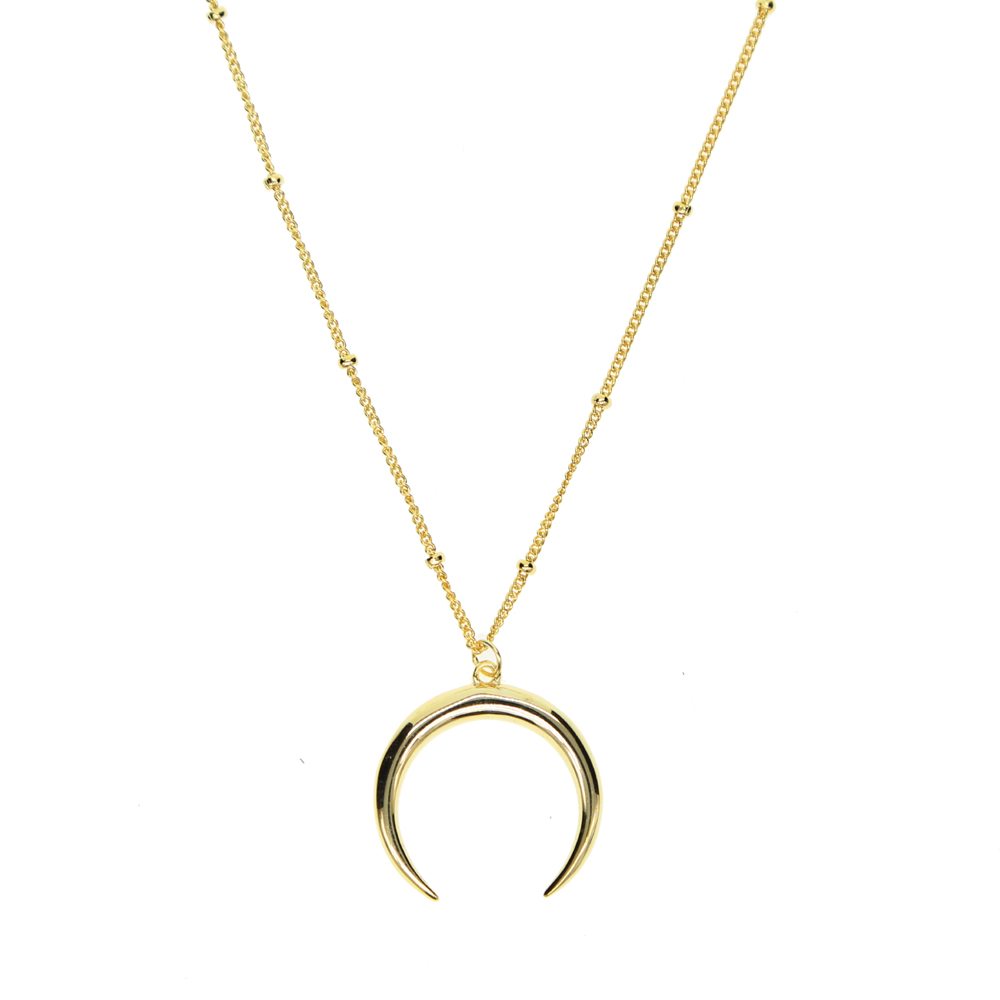fashion jewelry Delicate Moon pendant Necklace Jewelry Curved Moon horn 925 sterling silver Moon Necklace for Birthday Gift
