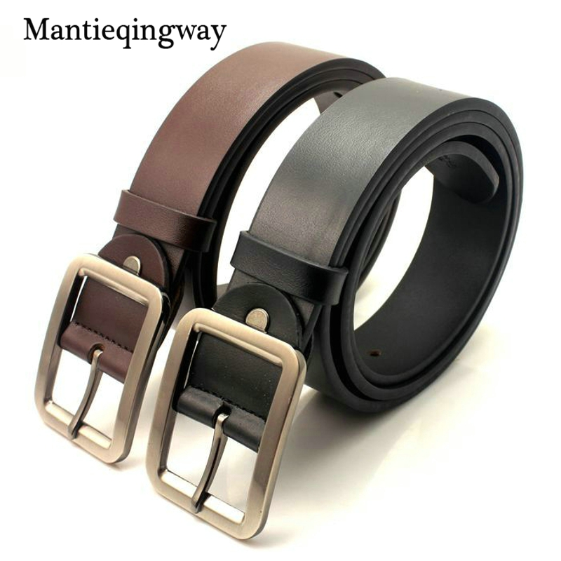 Mantieqingway 120cm High Quality Cowskin Mens Belt Classic Brown&Black Belt For Male Business Designer Leather Strap For Jeans
