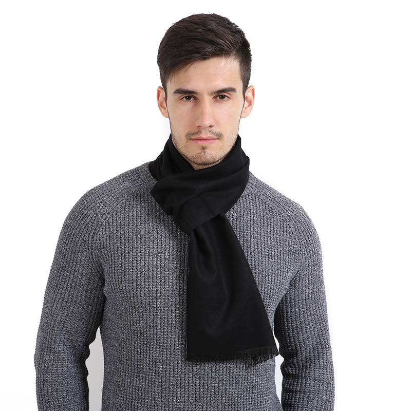 Helisopus Fashion Men Cashmere Scarf Business Wear Simple Solid Color Scarves Grey Black Winter Warm Scarf 30cmx190cm