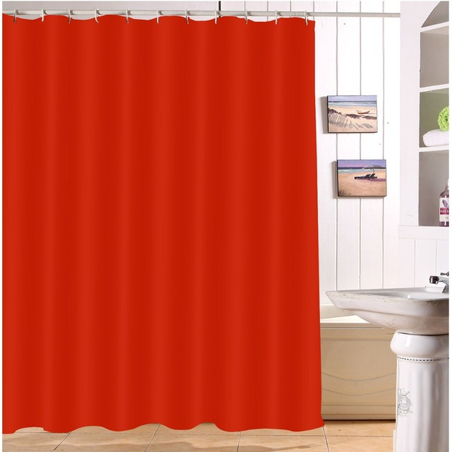 LB 180200 Waterproof Solid Red Pure Shower Curtains Polyester Print Bathroom Screens Curtain Fabric