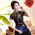 Preto verão manga curta senhora camisa casual estilo chinês tradicional tang topo clássico gola mandarim blusa roupas do vintage