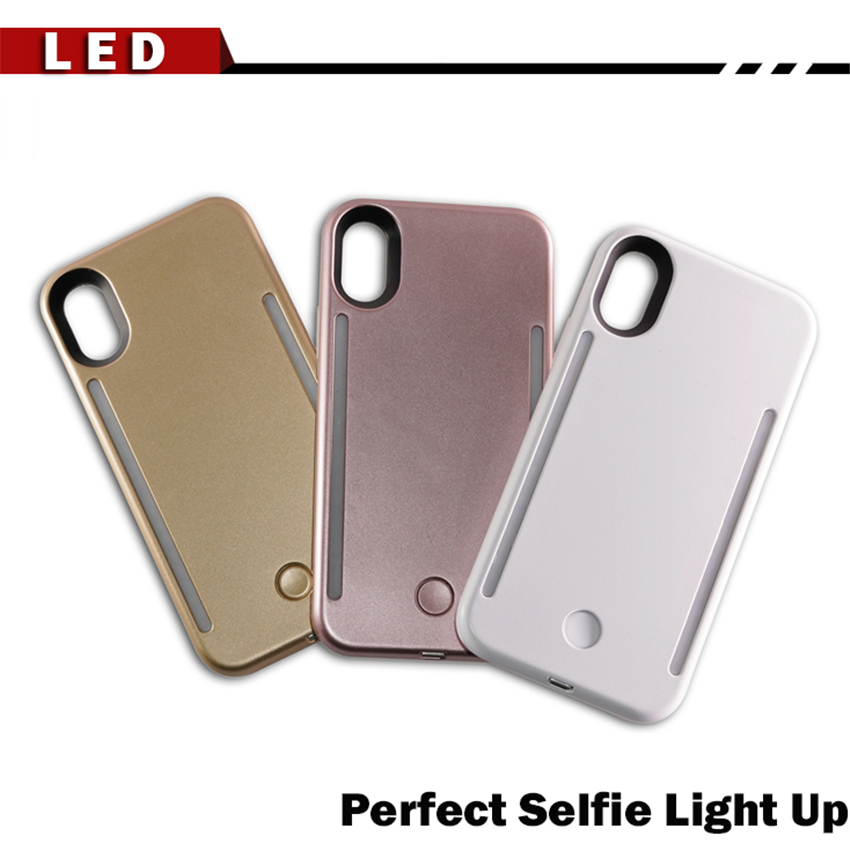 huge selection of 81aca 0b898 US $7.05 15% OFF|LED Luxury Luminous Phone Case For iPhone 6 6s 7 8 Plus X  Perfect Selfie Light Up Glowing Case Cover For Samsung S8 S9 plus case-in  ...
