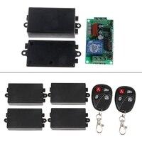 OOTDTY AC 220 V 10A 1CH RF Télécommande Sans Fil Commutateur 4 Récepteur + 2 Émetteur