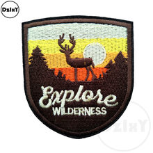 1 PCS Elk Patches for Kids Clothes Iron on Appliques DIY Stripes Embroidery Deer Stickers Sew on Forest Badges @F-102(China)