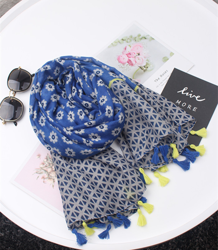 women bohemian long blue printed scarfs for ladies autumn spring Spain style boho hijab   scarf     Wrap   Hijabs Muslim Sjaal