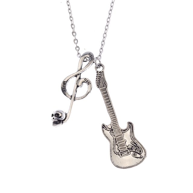 Aliexpress buy jewelry fashion retro silver skeleton music jewelry fashion retro silver skeleton music symbol electric guitar rock pendant necklace sweater chain 50 aloadofball Images