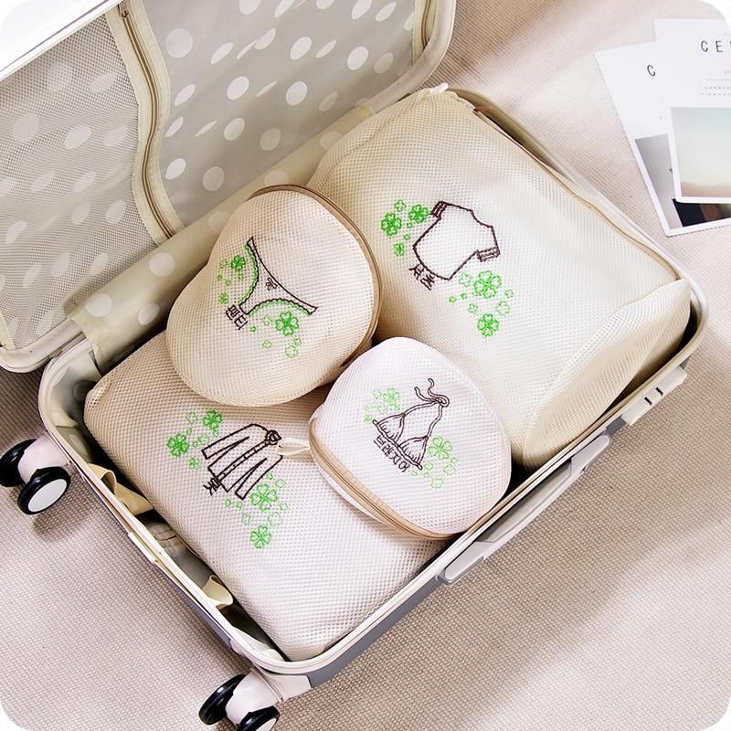 5pcs/set Thickening Washing Machine Underwear Wash Bag Embroidery Nylon Material Zipper Laundry Bag Protective Clothing
