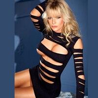 Hot Sexy Vrouwen Clubwear Erotische Uitsparing Hol Mini Jurk Fetish Lingerie Nachthemd Nachtclub Stripper Kostuum W5218