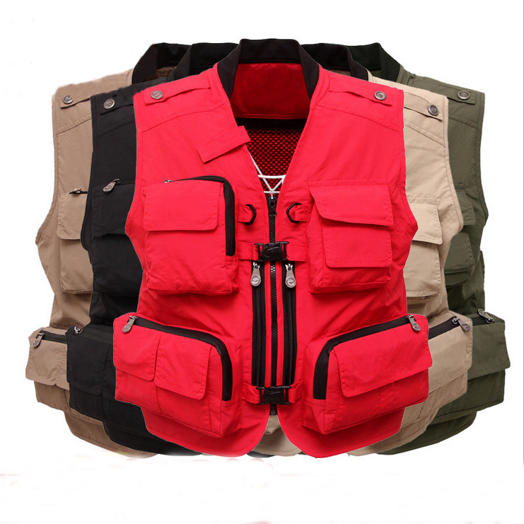 Wholesale Male Vest Outdoors Fashion Vests For Men's Multi pocket Photography Vest Men Casual Reporter Director Militar