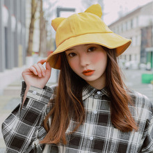 Cute Cat ears Bucket Hat Women Hip Hop Cap Gorros Solid Color Unisex Casual Flat Cotton Spring Fishing