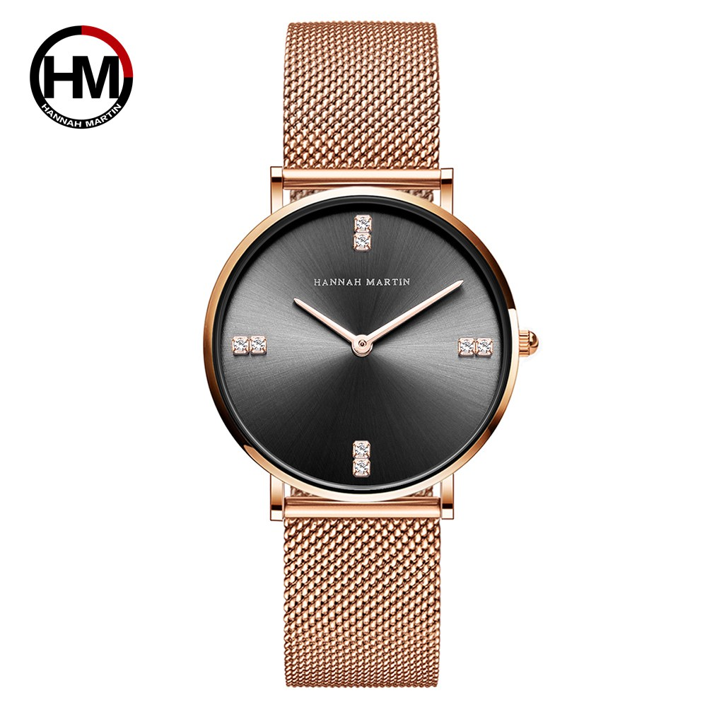 HM 36mm Luxury Designer Rhinestones Women Watch Rose Gold Stainless Steel Mesh Band Watch Ladies Japan Quartz Movement Clock