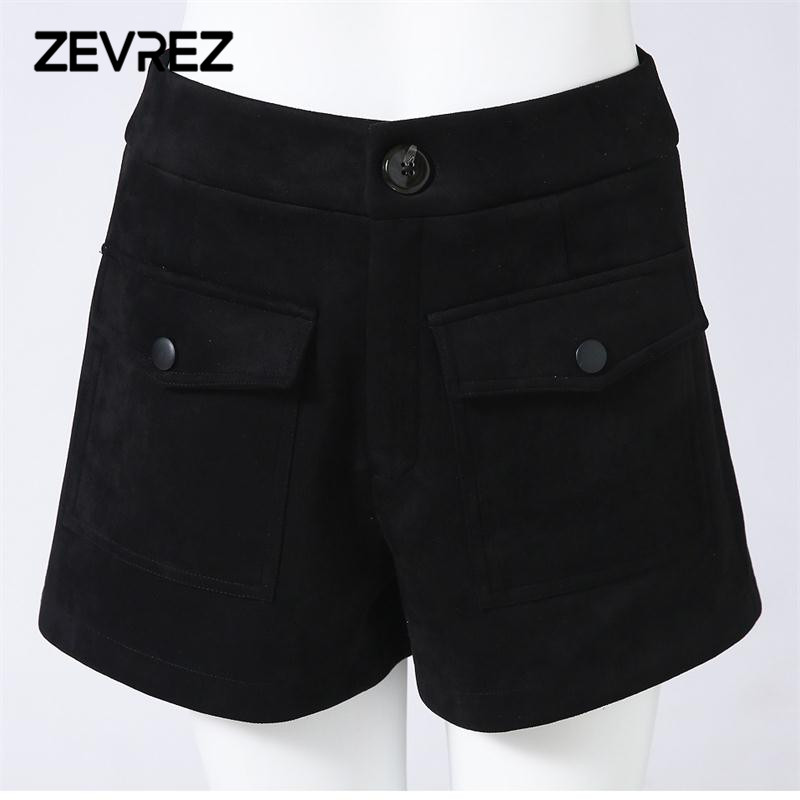 Autumn Winter Women Suede Shorts Sexy Black High Waist Spandex Artificial  Leather Casual Loose Ladies Short Pants 4XL Zevrez 4f6a51a8ba
