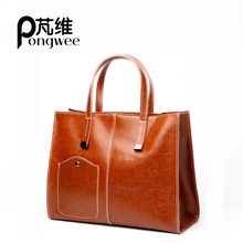 PONGWEE Famous Brand Oil Wax Leather Retro Vintage Style Crossbody Women  Bag Tote Outlet 2018 Bag 1f480698deb2d