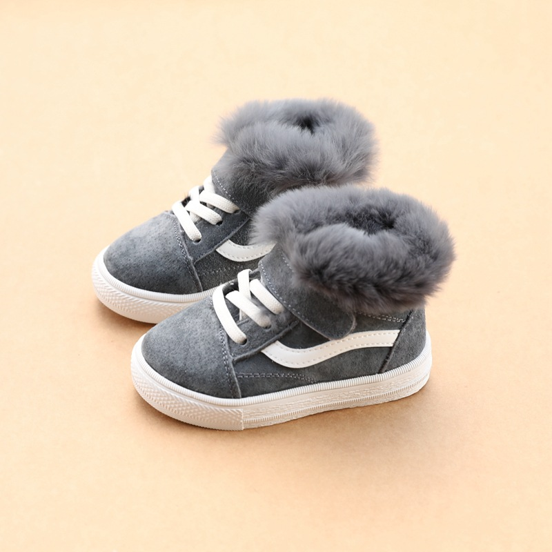 Koovan Children's Warm Boots 2019 Winter Genuine Leather Rabbit Hair Plus Velvet Casual Cotton Shoes 1-3 Years Baby Snow Boot
