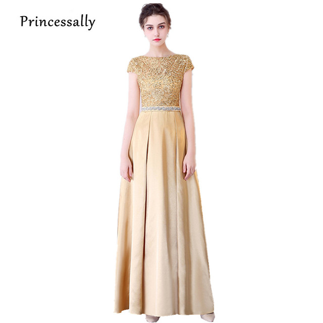 Aliexpress.com : Buy New Gold Lace Evening Gown Satin Long Crystal ...