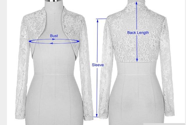 Женщин с длинными рукавами семь-точки плечами белый черное кружево жилет свадебные аксессуары размер куртки