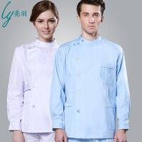 Long Sleev Men Coats Nurses Coats Doctor Body Suit ICU Blue Long Sleeved Winter Thick Dental