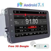 3G DONGLE+Android 7.1 Stereo Quad core GPS Navigation 2din Car Autoradio 8''SWC Wifi Mirror Link Bluetooth Head Unit support USB