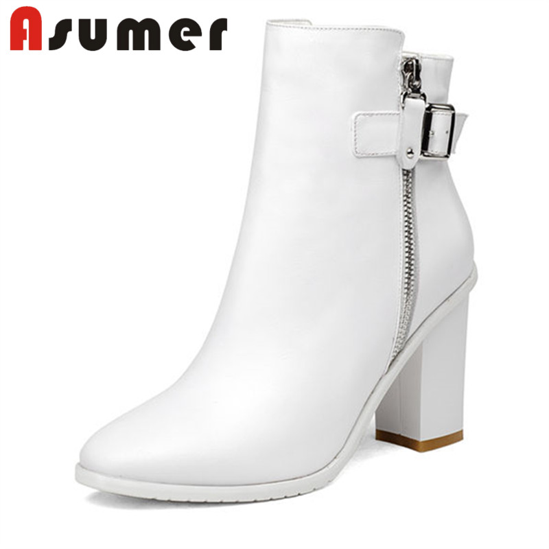 ASUMER 2018 HOT SALE square heels ankle boots for women high quality genuine leather boots pointed toe thick heels winter boots enmayer high quality new pointed toe spike heels ankle boots winter platform boots for women leather motorcycle boots